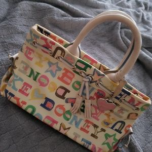 Dooney and Bourke Doodle Tassel Tote Handbag